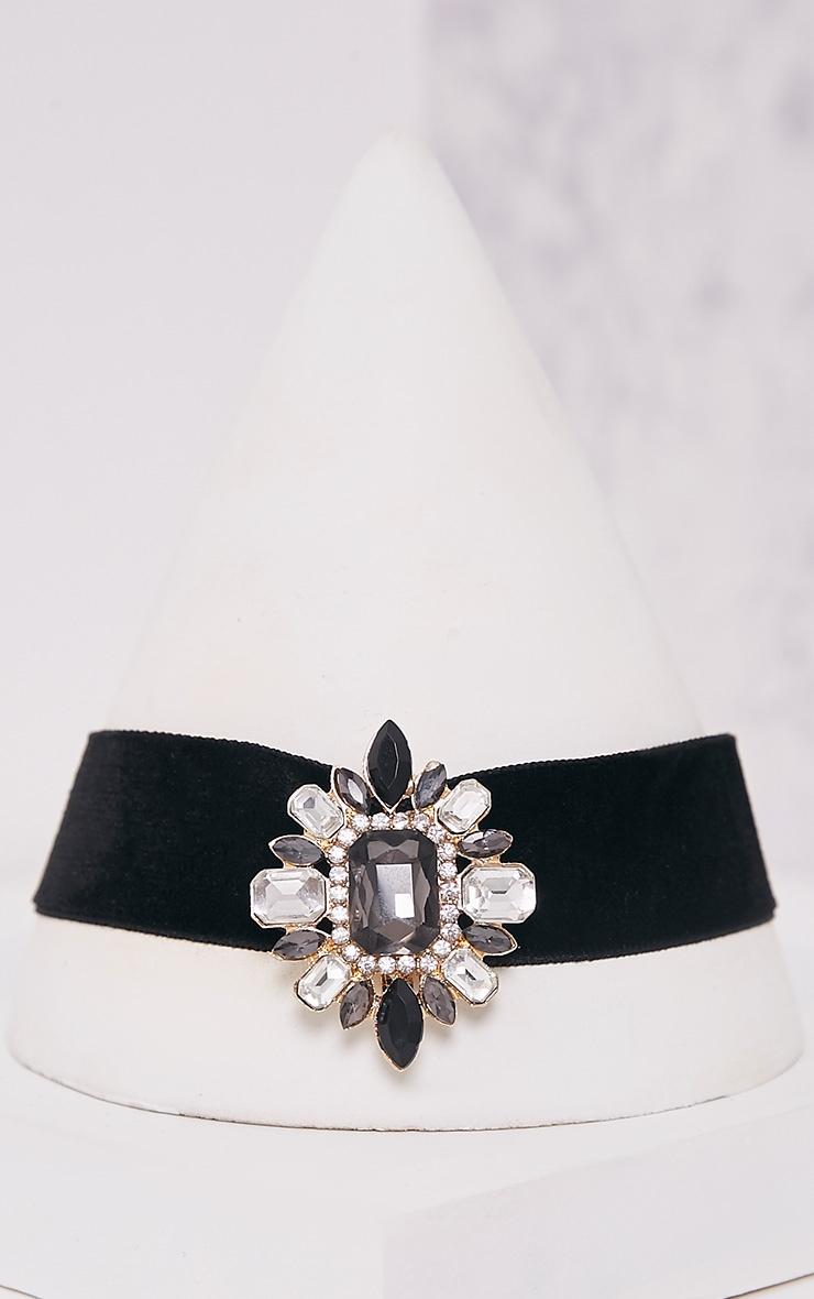 Odra Black Velvet Embellished Choker 5