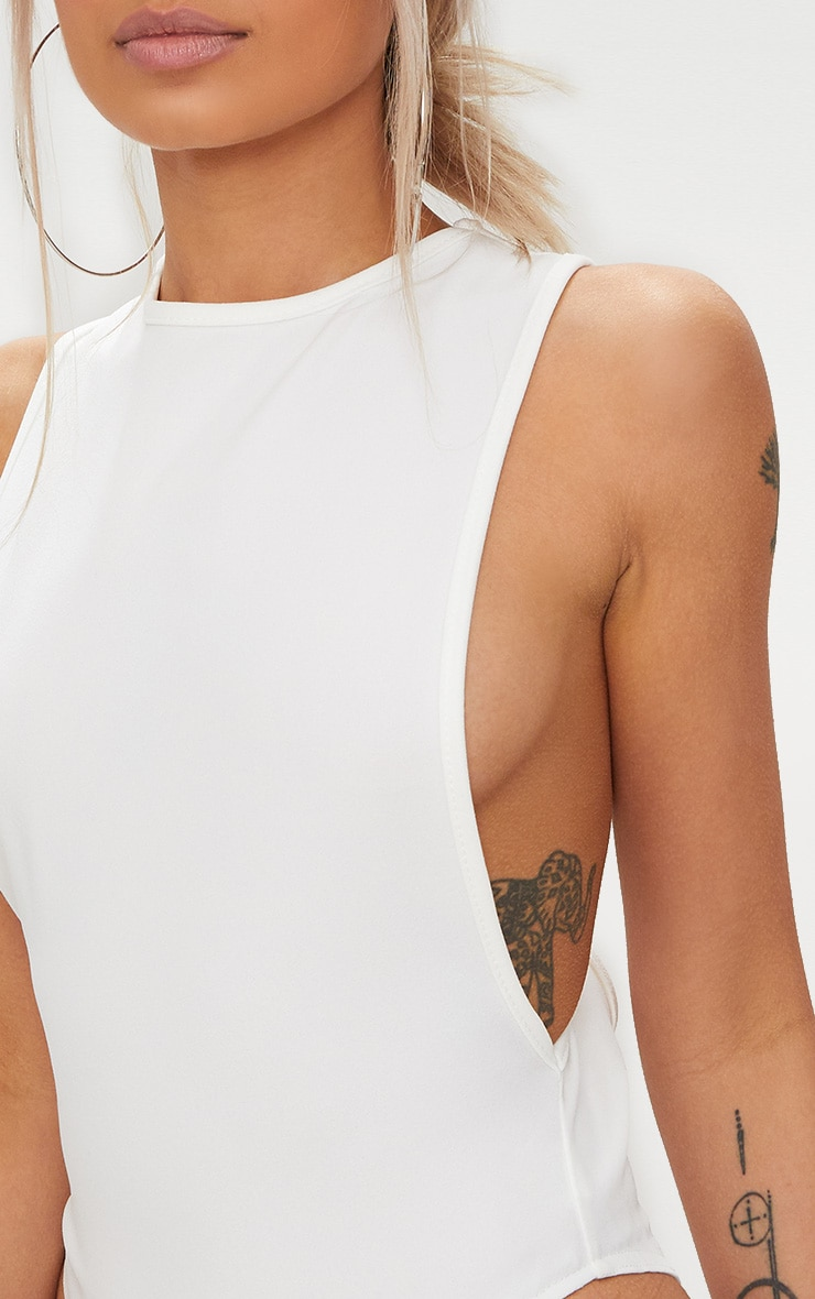 White Crepe Side Boob Thong Bodysuit  6