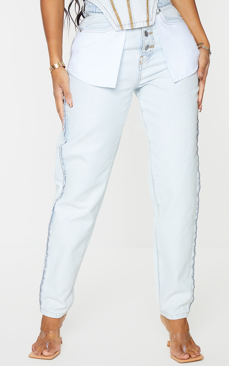 Shape Bleach Wash Inside Out Ripped Bum Straight Leg Jeans 2
