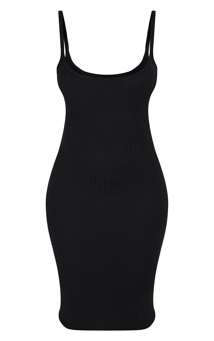 Black Second Skin Ribbed Scoop Neck Midi Dress 3