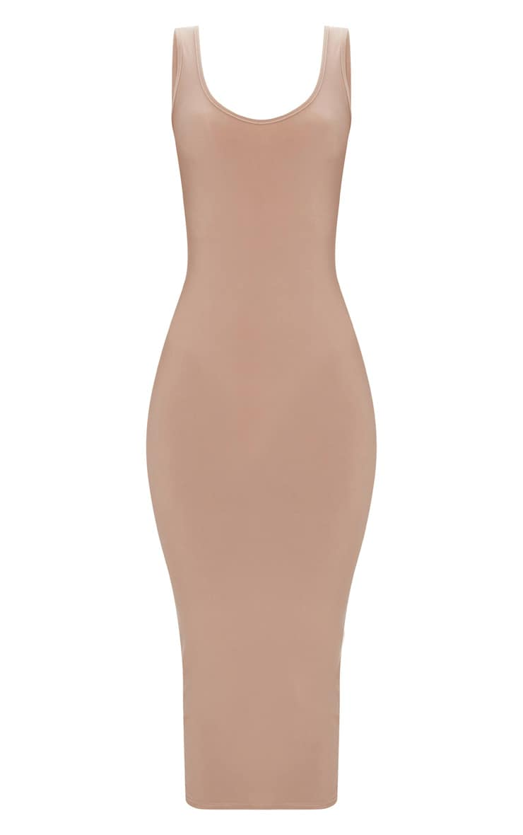 Taupe Scoop Neck Low Back Midaxi Dress 2