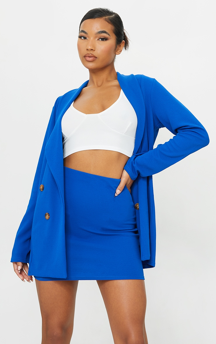Cobalt Mini Suit Skirt 1