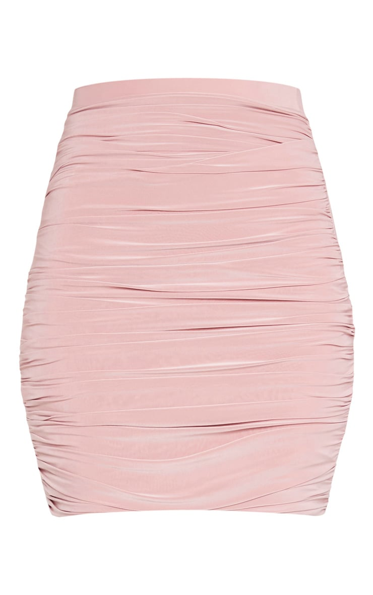 Dusty Rose Ruched Layered Slinky Mini Skirt 3