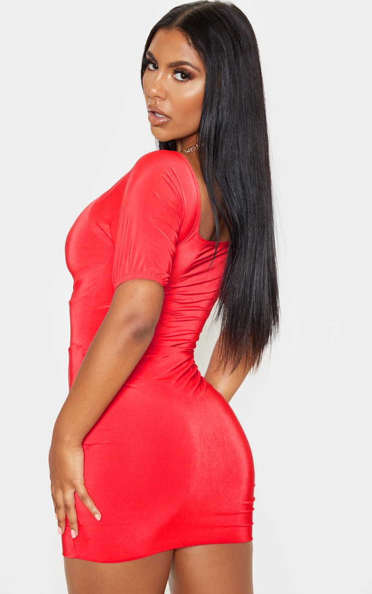 Red Slinky Ruched Front Key Hole Bodycon Dress 2