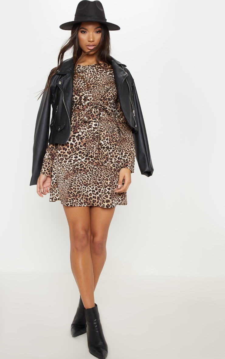 Brown Leopard Print Tie Front Smock Dress 1