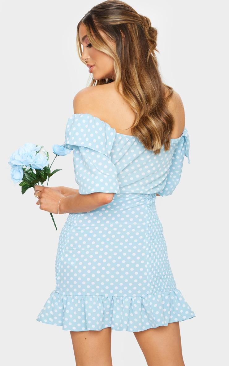Dusty Blue Polka Dot Shirred Side Bardot Bodycon Dress 2