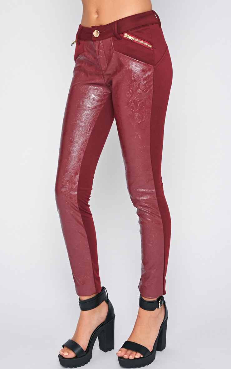 Sheree Burgundy Leather Panel Jeans With PU Floral Detail 4