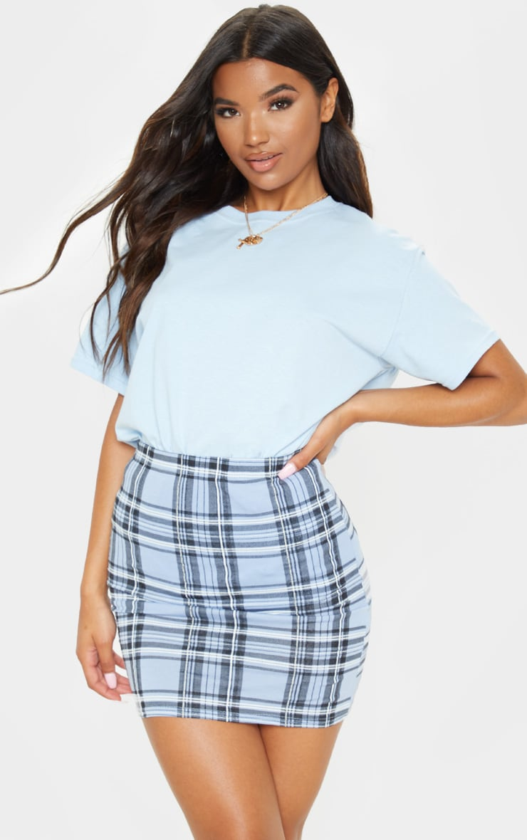Pastel Blue Check Print Mini Skirt 5