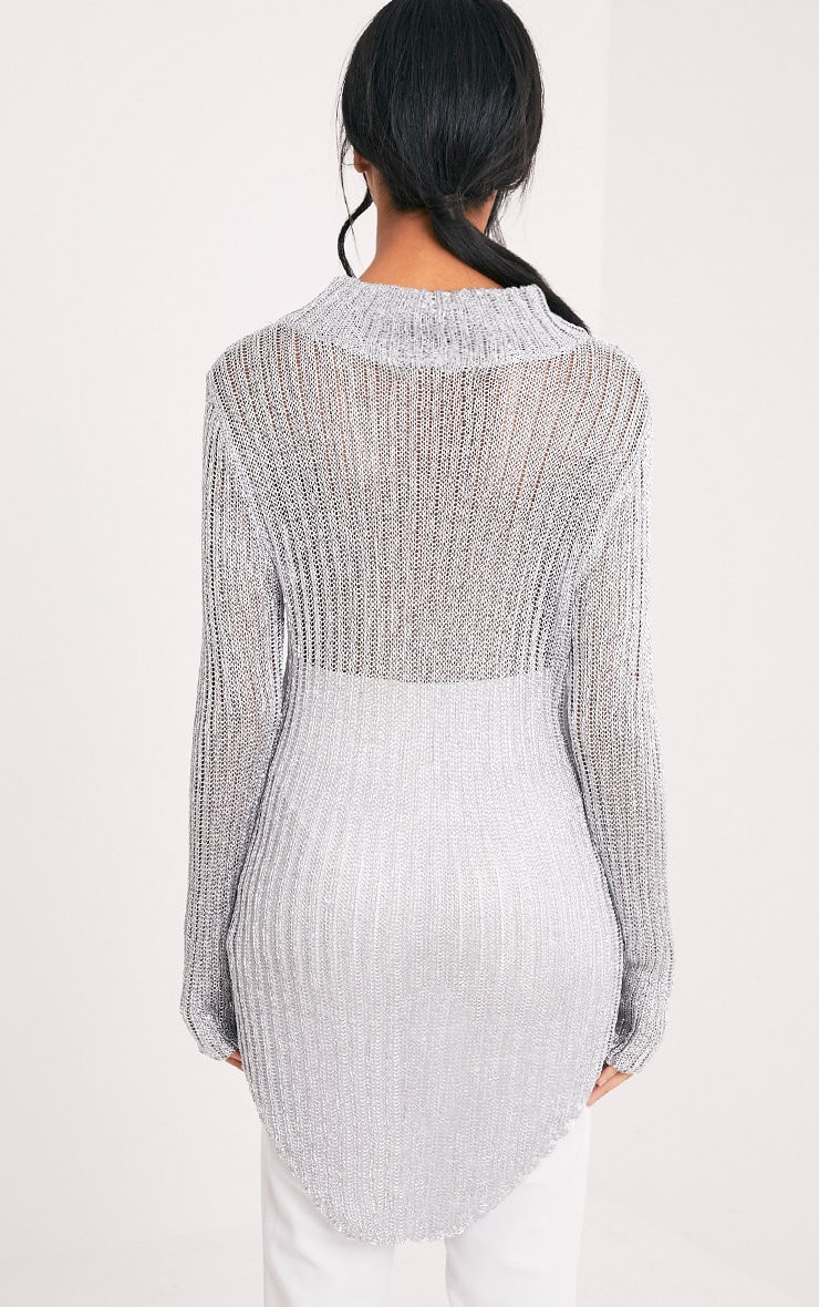 Haisley Metallic Silver Knitted Curved Hem Sheer High Neck Jumper 2
