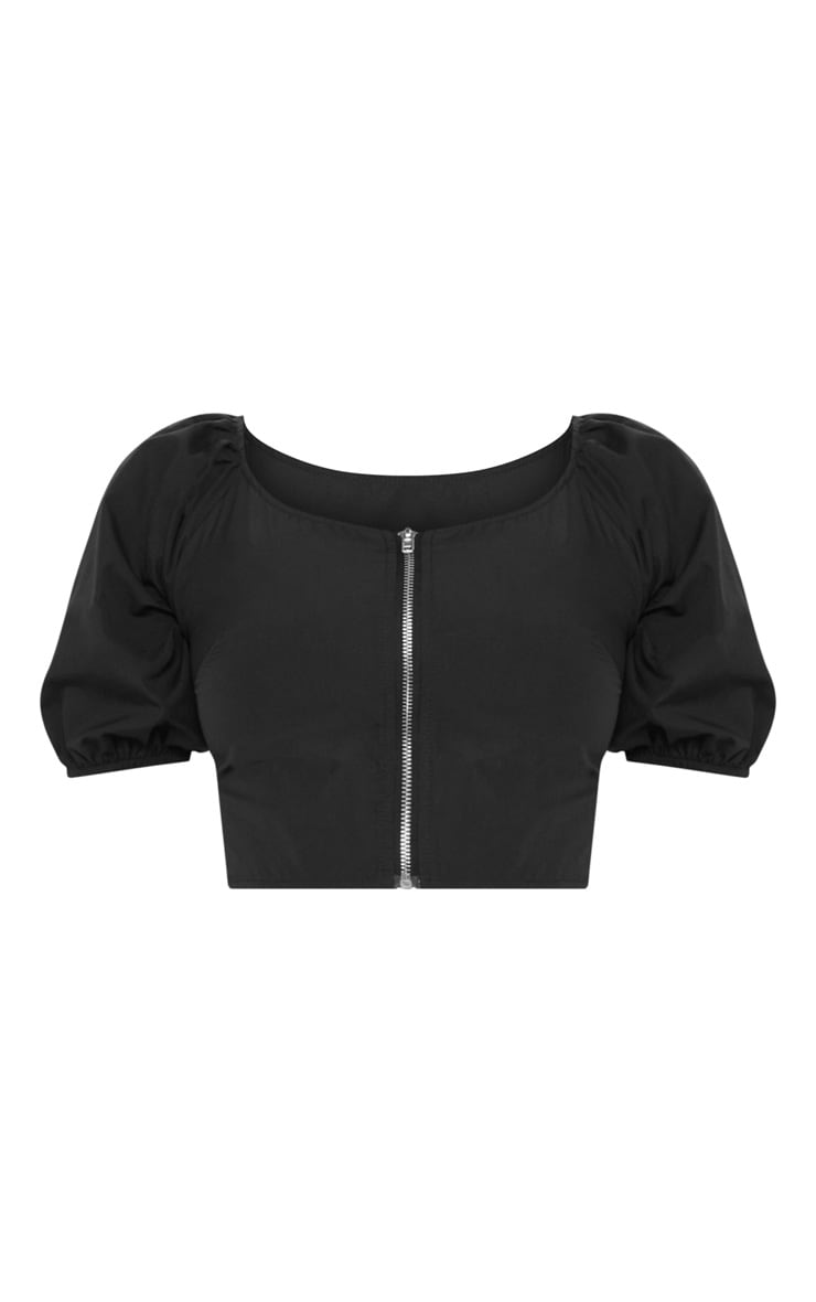 Black Zip Front Puff Sleeve Crop Top 3