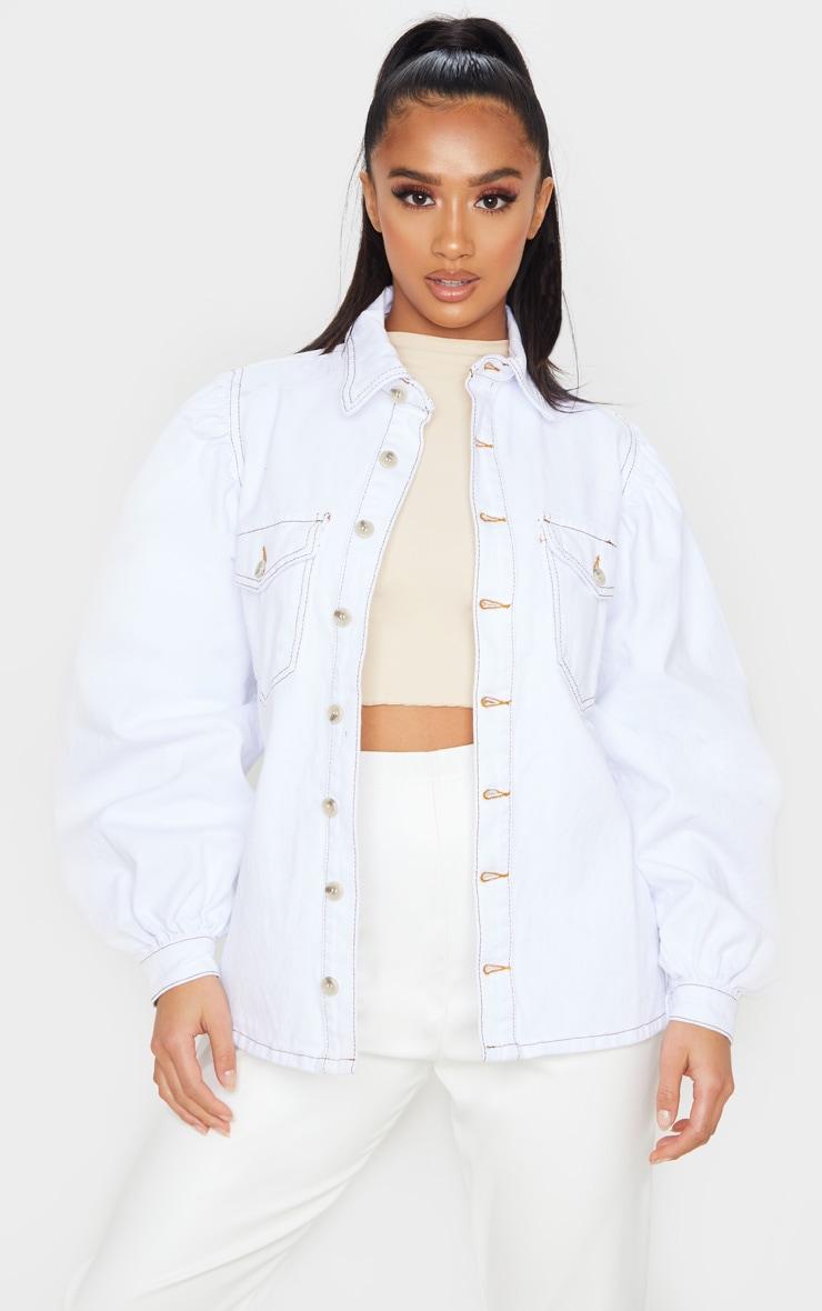 Petite - Chemise en jean oversize blanc à manches bouffantes 1
