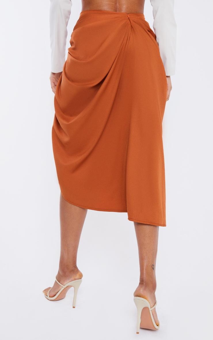 Rust Woven O Ring Cut Out Drape Midi Skirt 3