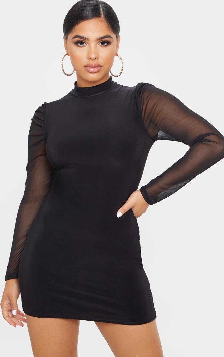 Petite Black Organza Sleeve Slinky Mini Dress 1