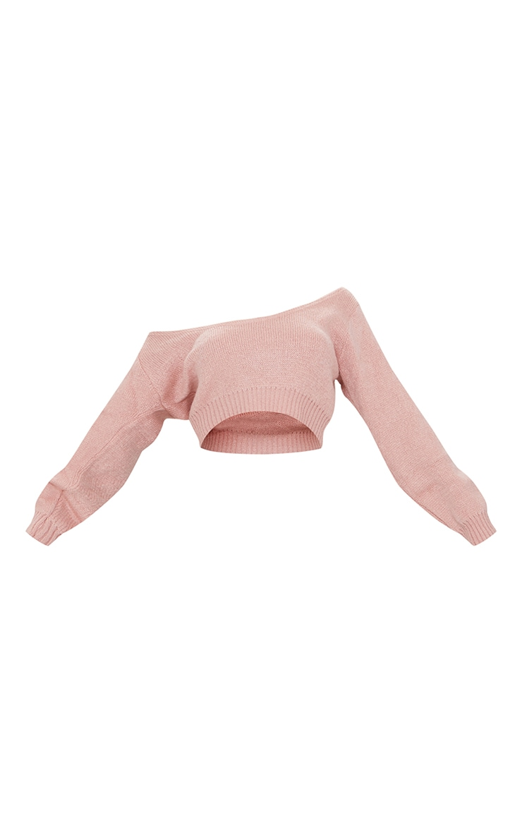 Adelaida Blush Off Shoulder Knitted Crop Jumper 5