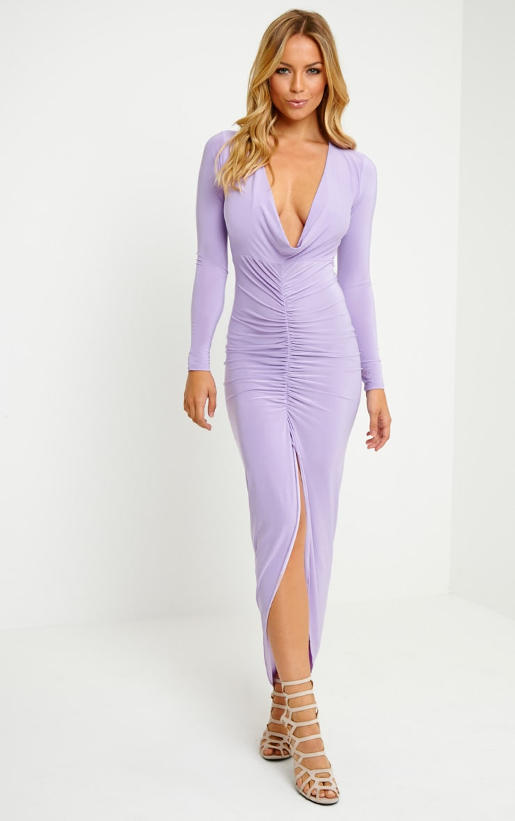Ellie Lilac Slinky Ruched Maxi Dress 4