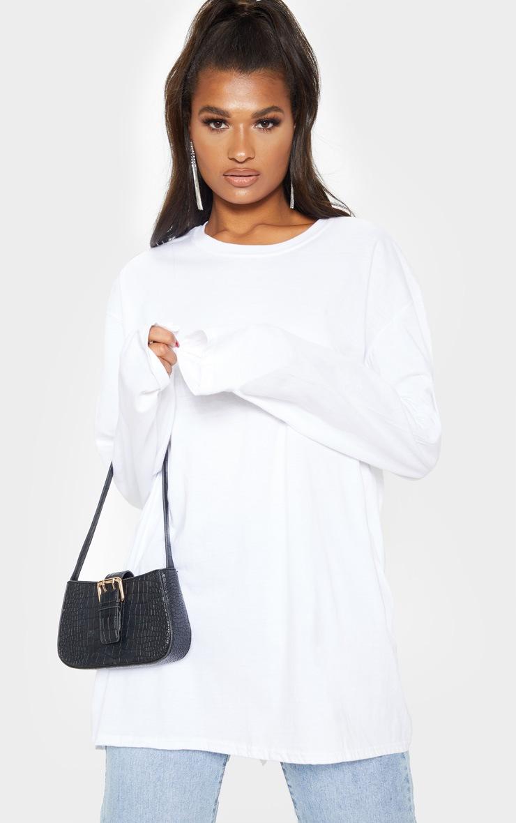White Fearless Slogan Back Long Sleeve T Shirt 2