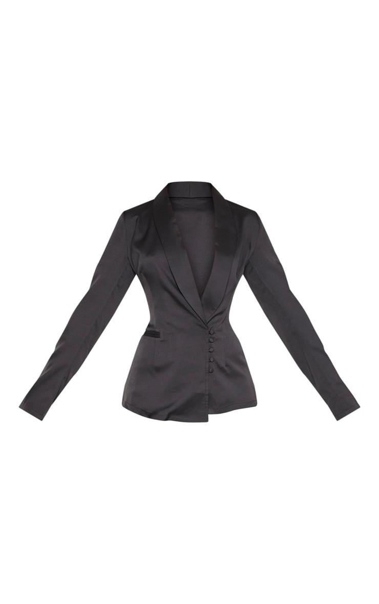 Black Woven Collar Button Detail Blazer  3