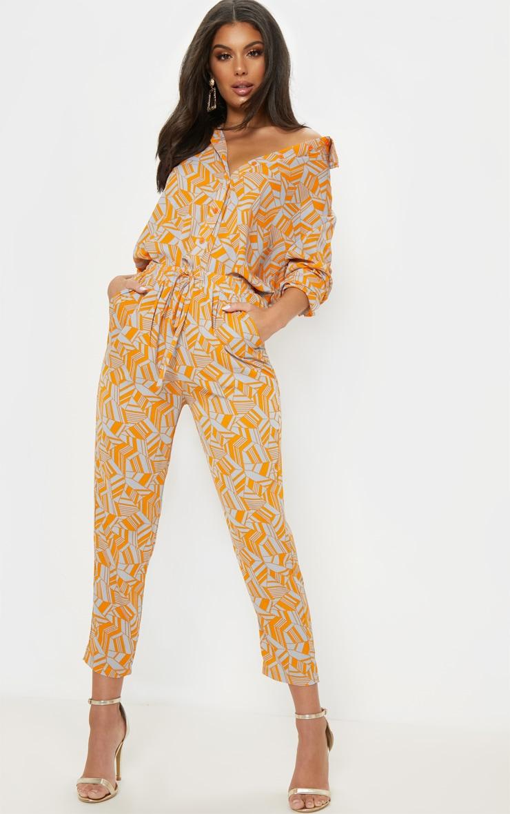 Neon Orange Printed Cigarette Trouser 1