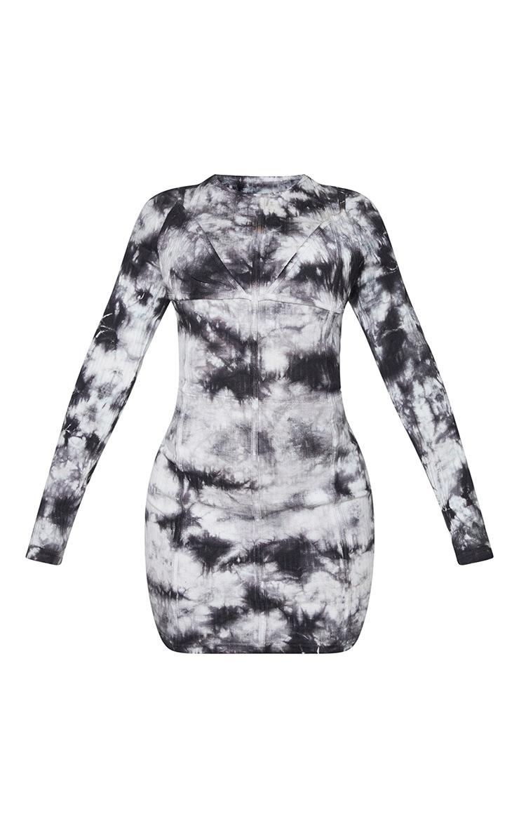 Shape Black Tie Dye Thick Rib Binding Detail Bodycon Dress 5