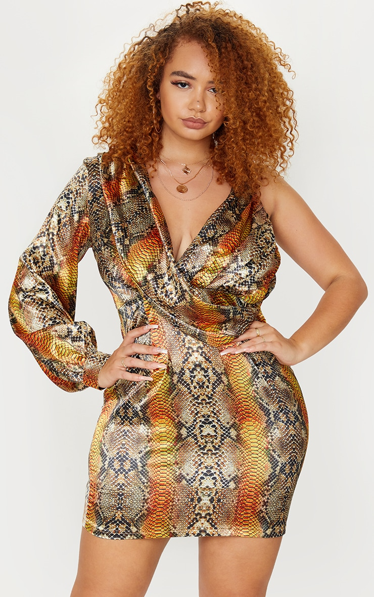 Plus Brown Satin Snake Print One Sleeve Twist Dress 3
