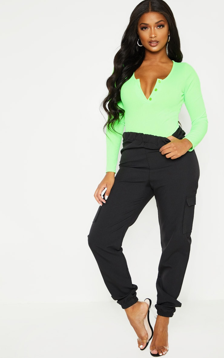 Shape Neon Lime  Ribbed Long Sleeve Bodysuit 5