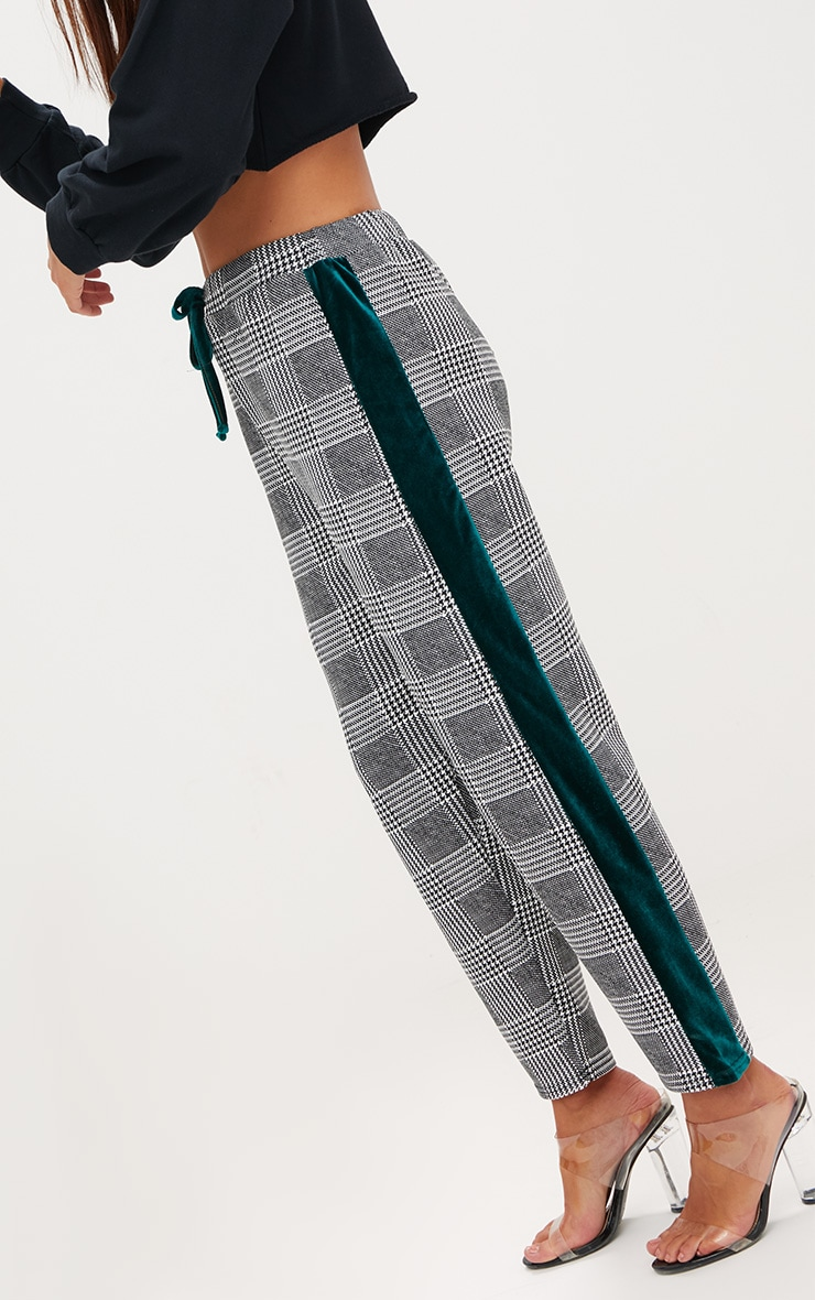 Grey Check Contrast Panel Trousers 5
