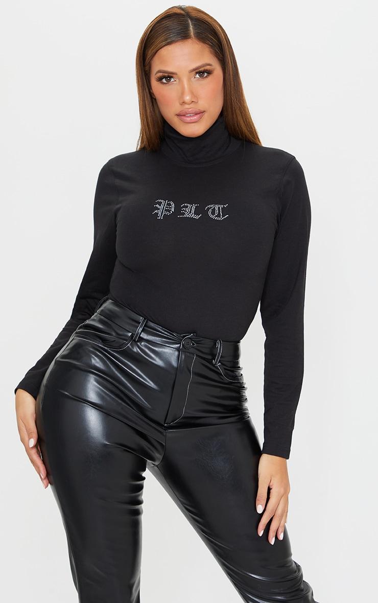 PRETTYLITTLETHING Shape Black Diamante Bodysuit 1