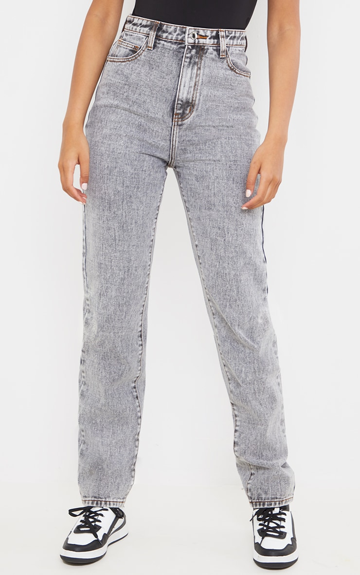Tall  Grey With Contrast Stitch Long Leg Straight Jeans 2