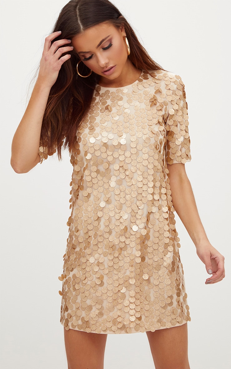 90497dde7c8 Gold Sequin T Shirt Dress image 1