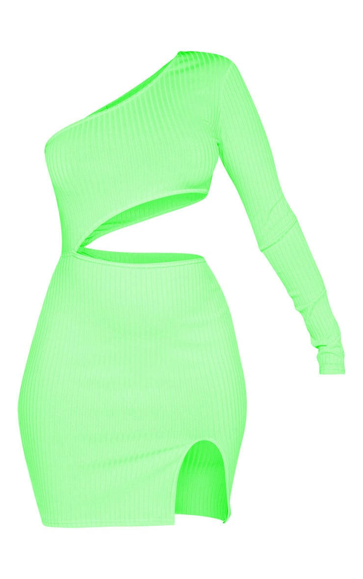 Neon Lime Ribbed Waist Cut Out One Shoulder Bodycon Dress 3