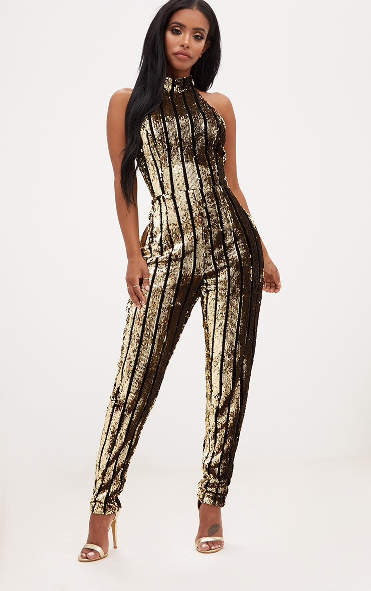Shape Gold Sequin Halterneck Jumpsuit 1