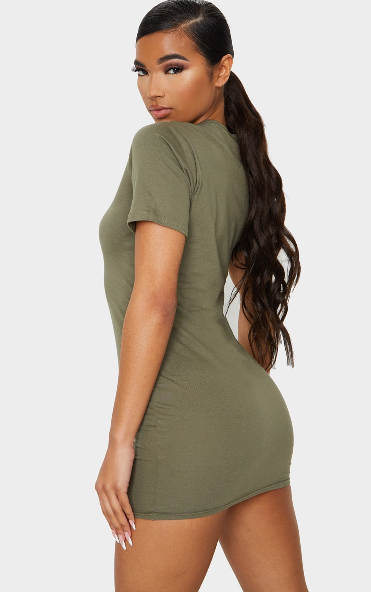 Khaki Short Sleeve Bodycon Dress 2