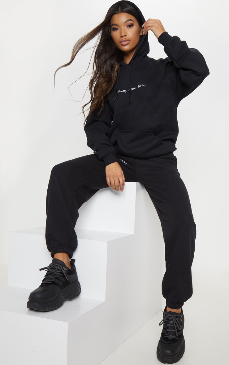 PRETTYLITTLETHING Black Embroidered Oversized Hoodie 4