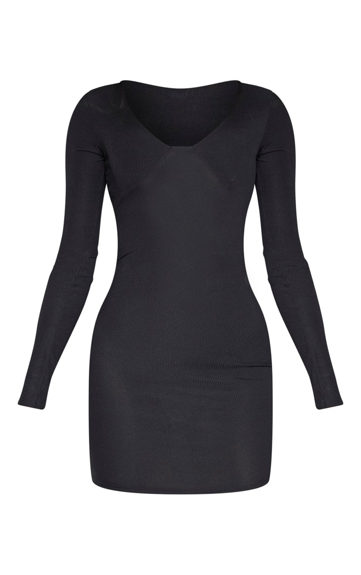Tall Black Ribbed Cup Detail Long Sleeve Mini Dress  3