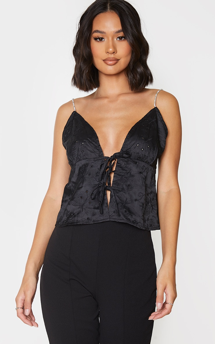 Black Woven Embroidered Tie Front Diamante Strap Crop Top 1