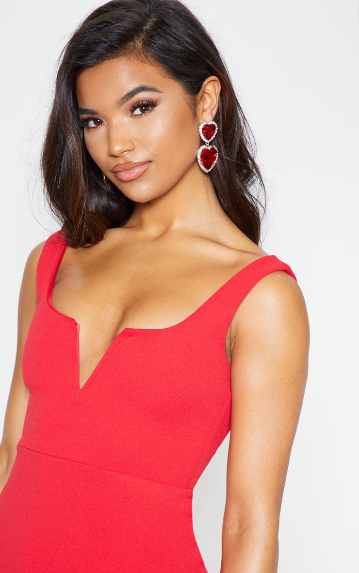 Red V Bar Frill Hem Bodycon Dress 6