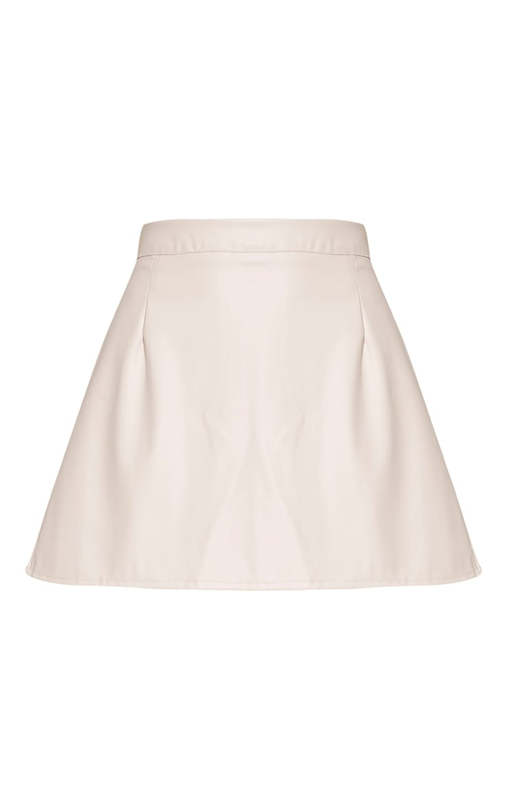 Rose White Faux Leather A-Line Mini Skirt 3
