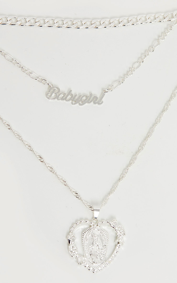 Silver Heart Charm Layering Necklace 3
