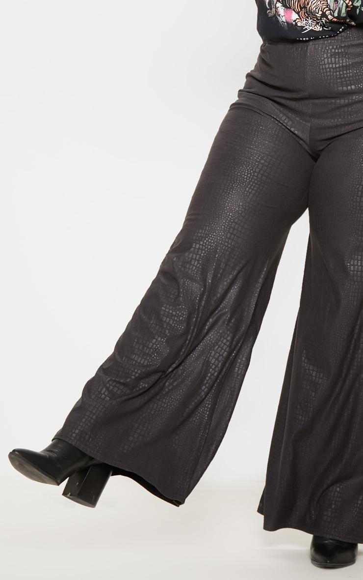 Plus Black Textured Wide Leg Pants  5