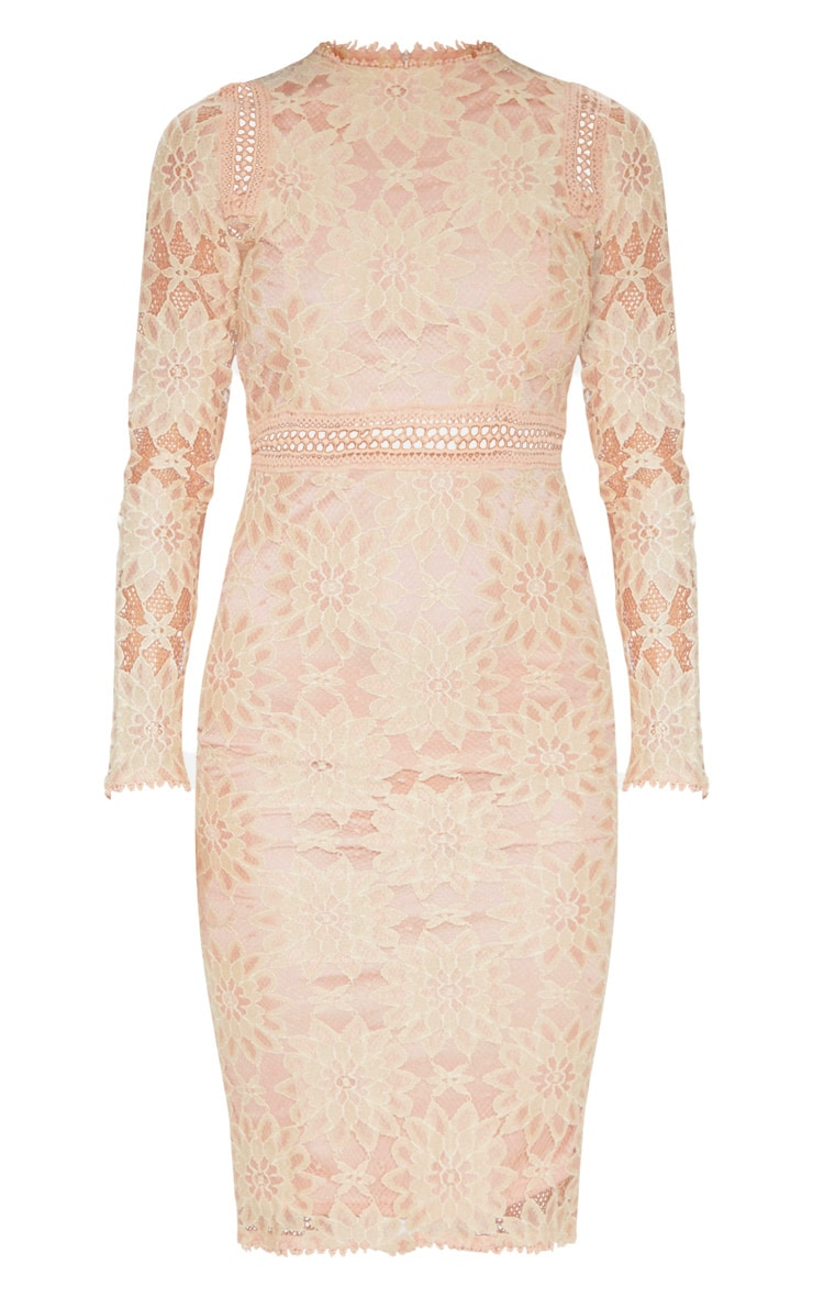 Caris Dusty Pink Long Sleeve Lace Bodycon Dress 3