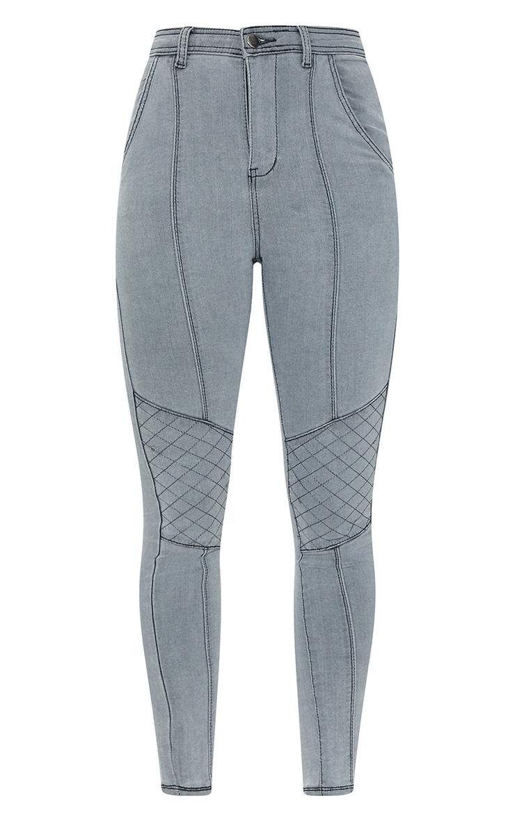 Washed Grey Denim Biker Jeans 5