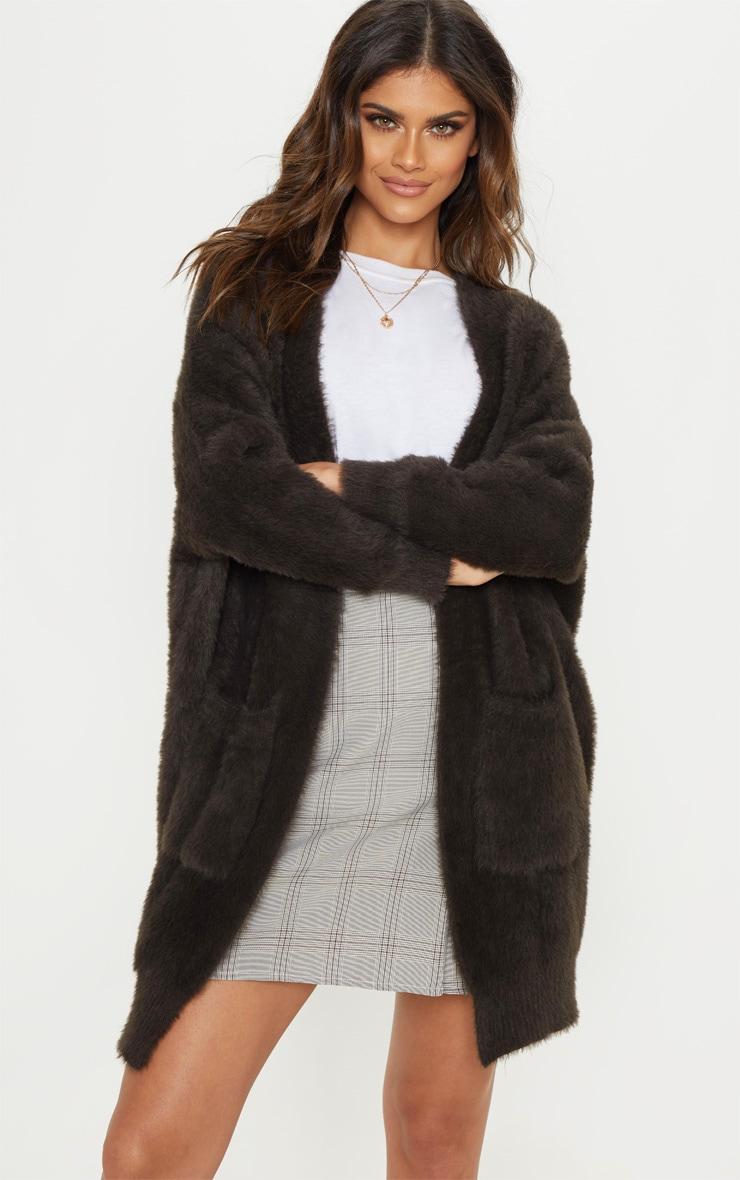 Charcoal Eyelash Knitted Cardigan 1