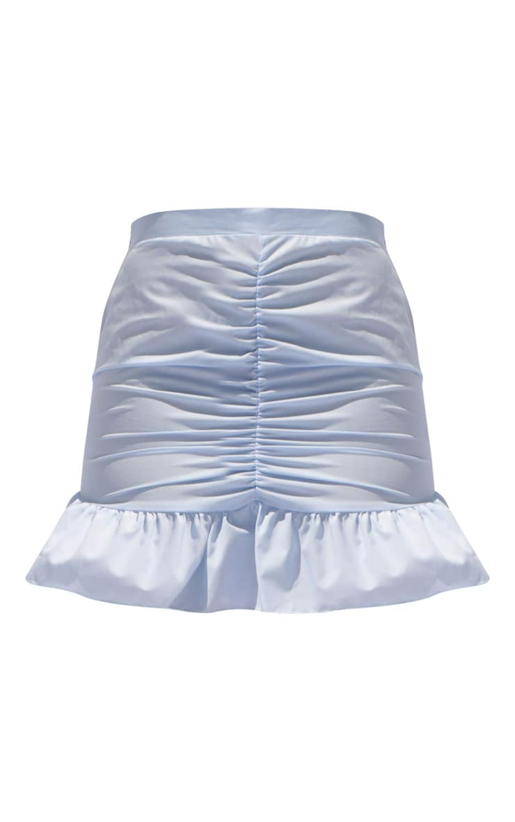 Baby Blue Woven Ruched Frill Hem Mini Skirt 6