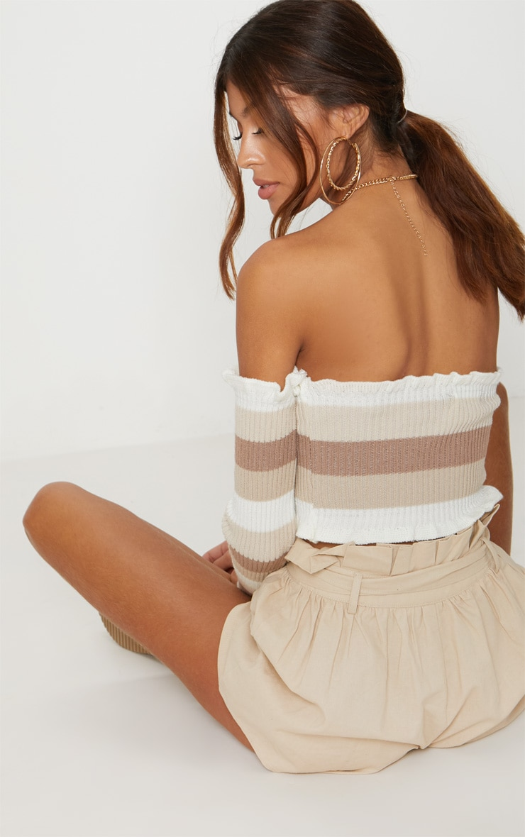 Cream Stripe Knitted Frill bardot top  2
