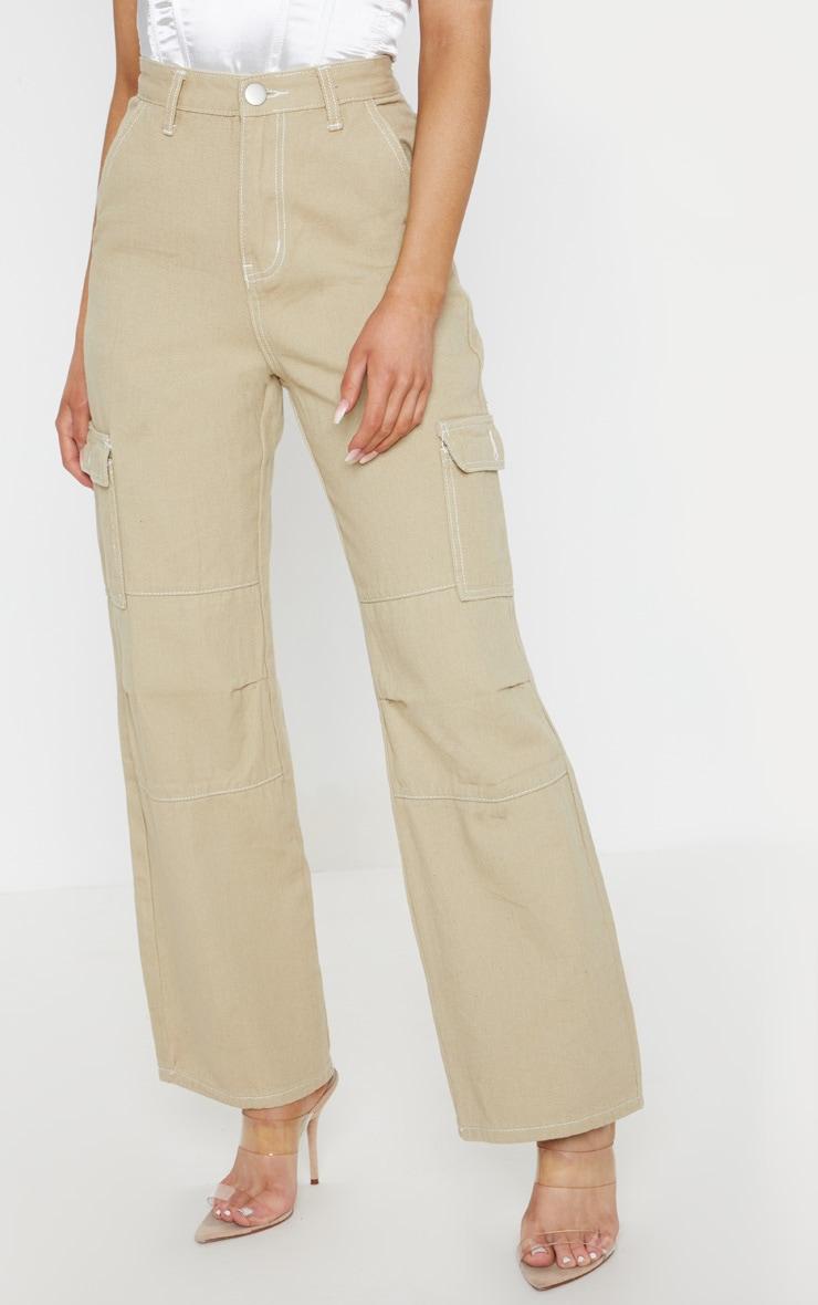Beige Contrast Stitch Wide Leg Cargo Jeans 2