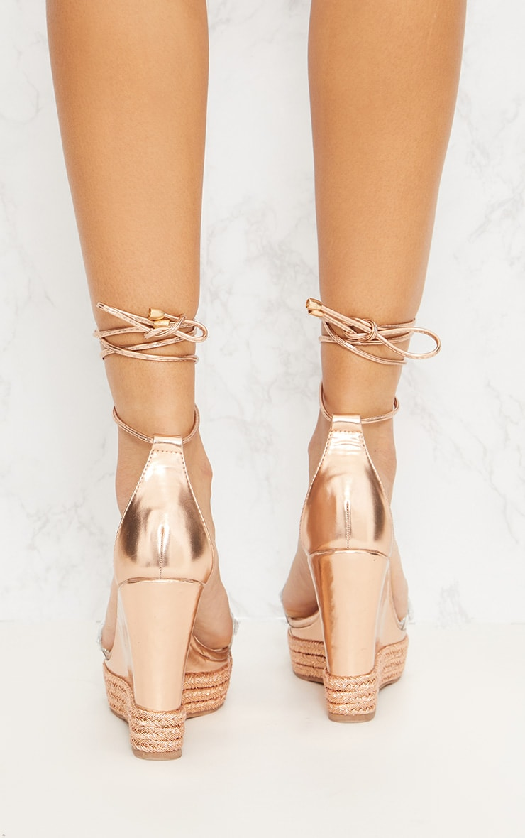 Rose Gold Jewelled High Wedge  4