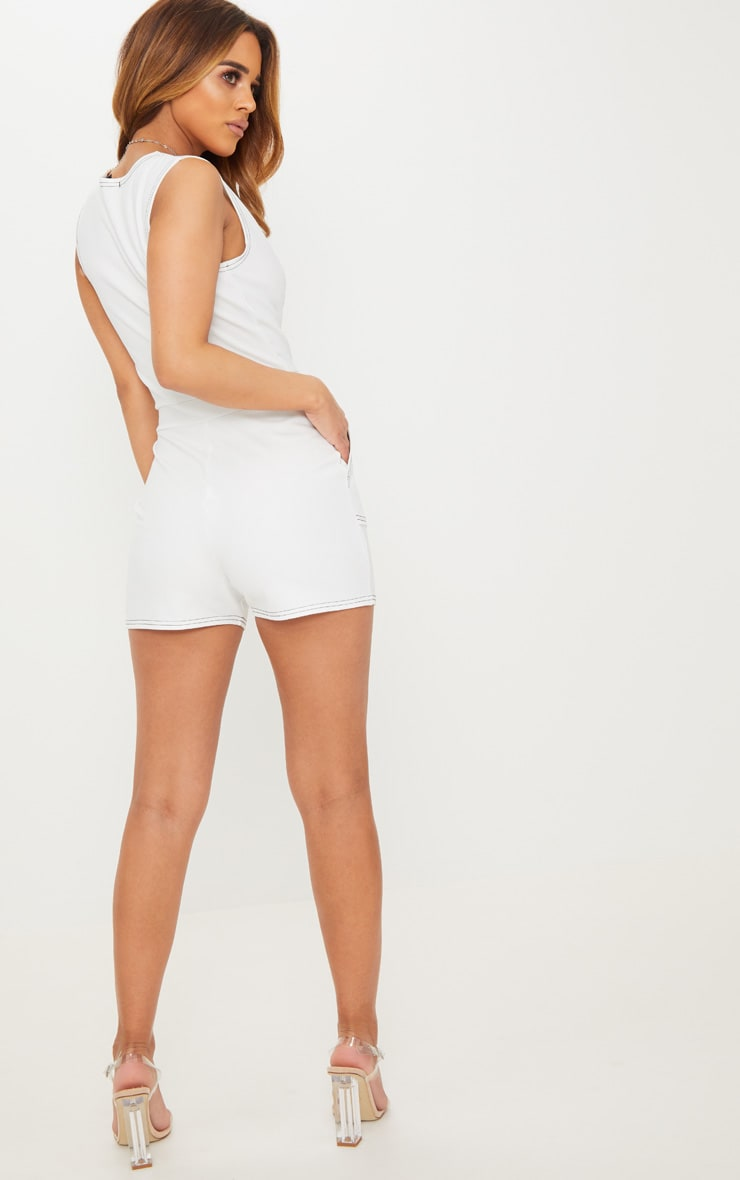 Petite White Contrast Stitch Playsuit 2