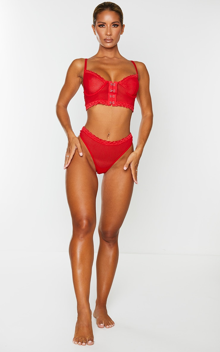 Red Mesh Lace Trim Hook And Eye Underwired Bra 3