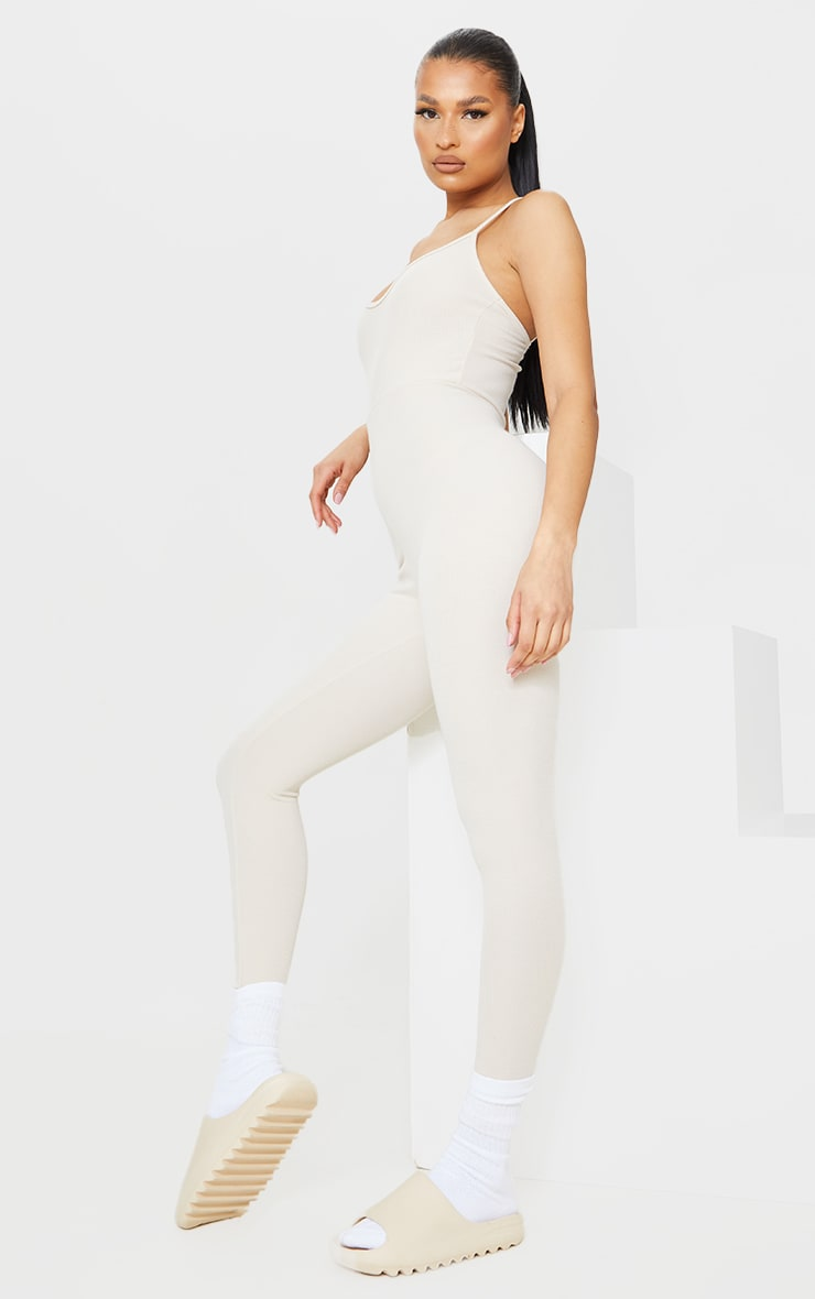 Recycled Beige Rib Strappy Jumpsuit 3