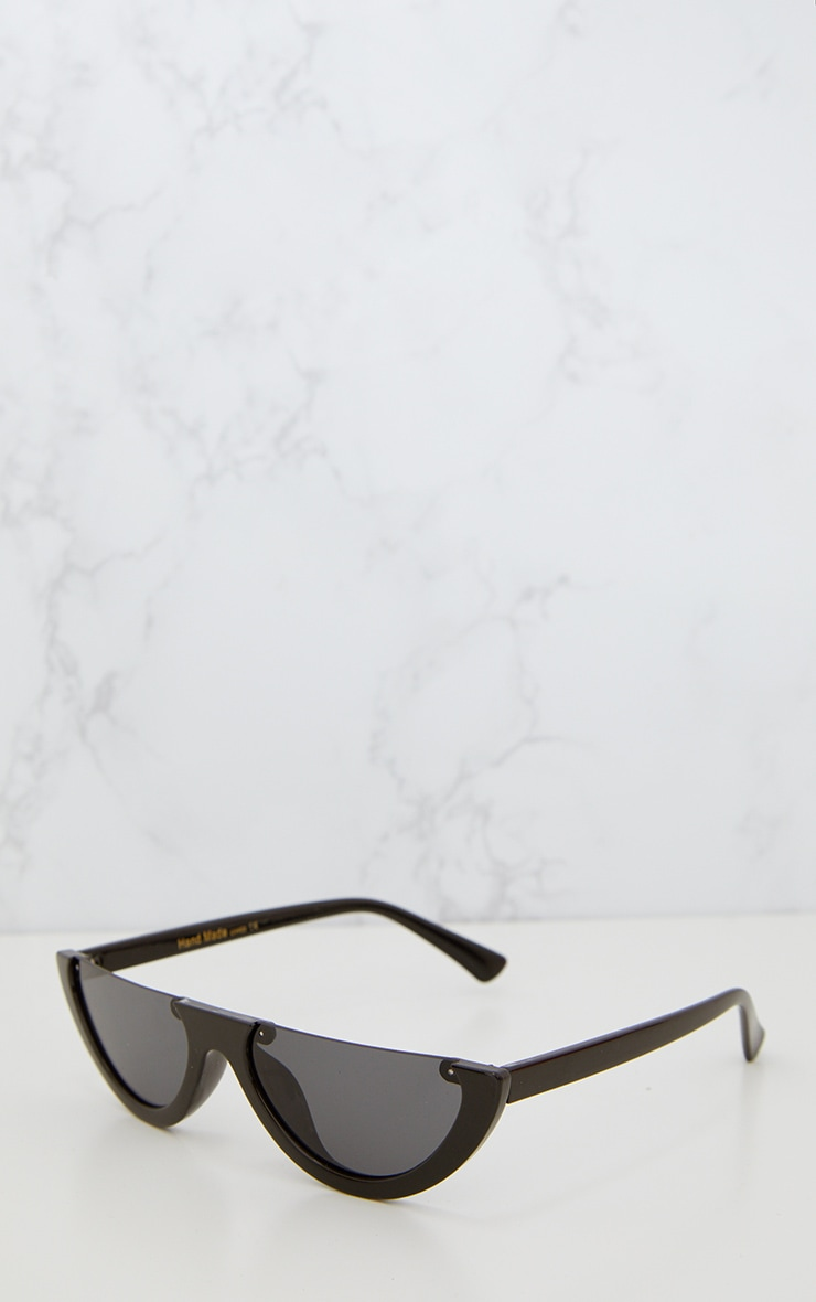 Black Rounded Half Frame Retro Sunglasses 3